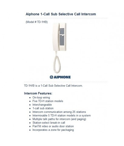 Aiphone TD-1H/B handset Sub-Master Station,1-Call