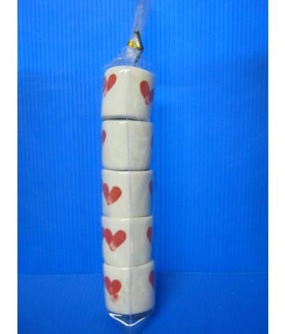 แก้วเล็ก ลายหัวใจ-แดง (แพ็ค 5 ใบ) [ของชำร่วยเซรามิค ย0004]