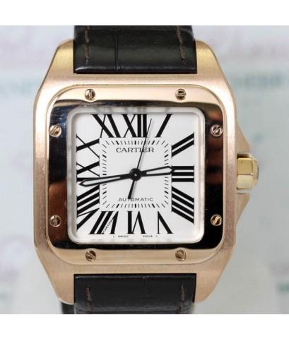 Cartier Santos 100 หน้าปัดขาวเลขโรมันตัวเรือนทอง rose gold