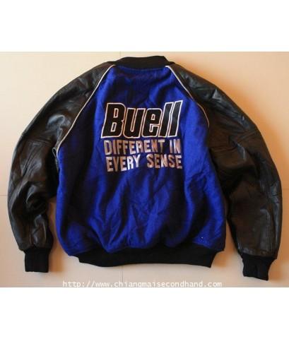 เสื้อแจ๊คเก็ตมอเตอร์ไซค์ Buell S2 Thunderbolt Jacket American Bike Size L แขนหนัง ปักหน้าหลัง