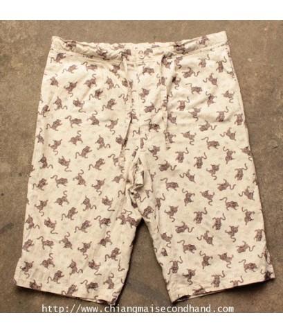 กางเกงขาสั้น3ส่วนลายเสือโคร่งเอวรูดเชือก Tiger Short Pant 32-35x12.5 Made in Japan ใหม่กริ๊บ