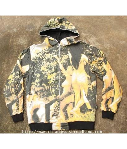 เสื้อฮู้ดลายสาวแก้ผ้าสองหน้า FLIP THE SCRIPT Reversible Zip Hood  Sz.L ลายเต็มสุดสวย