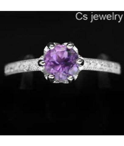 แหวนพลอยแท้ แหวนเงินแท้ 925 พลอยแท้อเมทิส ประดับข้างด้วยเพชร CZ แบบเรียงแนวยาว