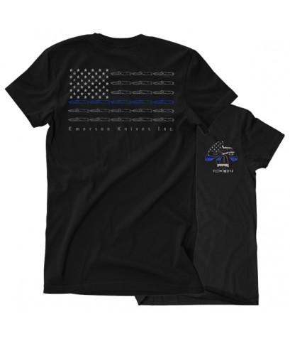 เสื้อยืดคอกลม Emerson Blue Line Skull T-Shirt (Size L)