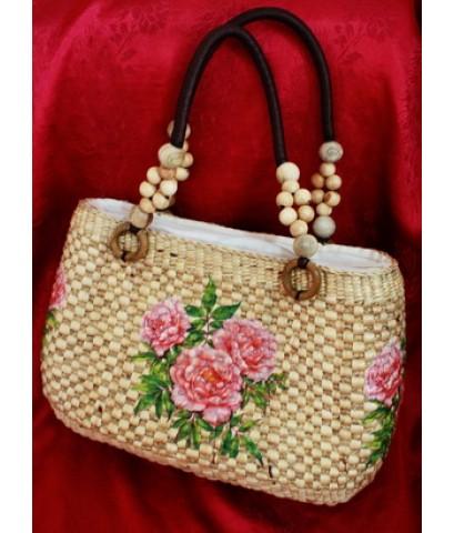 กระเป๋าผักตบสาน ลายดอกไม้ สีชมพู