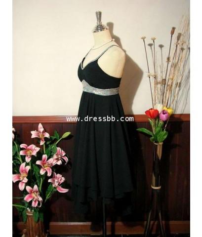 ชุดราตรีสั้นสีดำ ผ้าชีฟอง