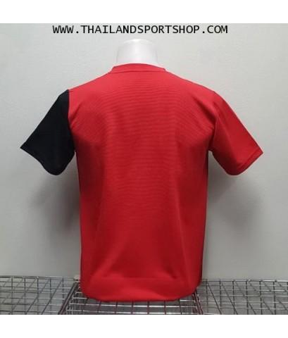 เสื้อกีฬา คอวี พิมพ์ลาย หมี คูล MHEE COOL รุ่น MV2 (สีแดง)