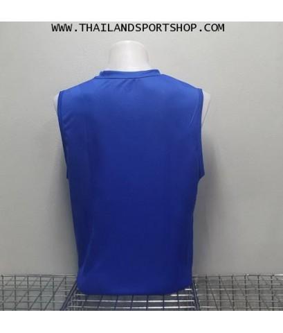 เสื้อวิ่งคอวี วอริค WARRIX รหัส WA 1615 (สีน้ำเงิน BB) ผ้าทอลาย