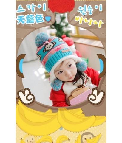 หมวกแคชเมียร์ ผ้าขนสัตว์เกาหลี สีฟ้าน้ำทะเล เนื้อหนา ใส่แล้วอุ่น