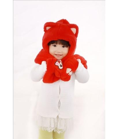 หมวกคลุมลูกแมว สีแดง เนื้อผ้าขนสัตว์นิ้มนิ่ม หูยาว สวมมือได้ พันคอได้