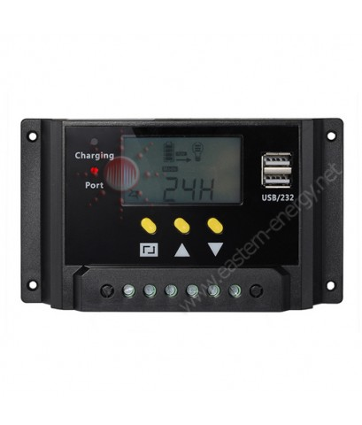 โซล่าชาร์จเจอร์ LCD Display PWM Solar Panel Regulator Charge Controller with Dual USB, 30A