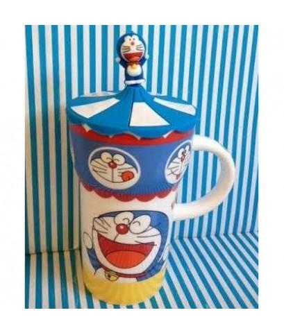 แก้วน้ำ มีหูจับ เซรามิค พร้อมฝาซีลีโคน ลาย โดเรม่อน (Doraemon) ขนาด สูง 6 นิ้ว