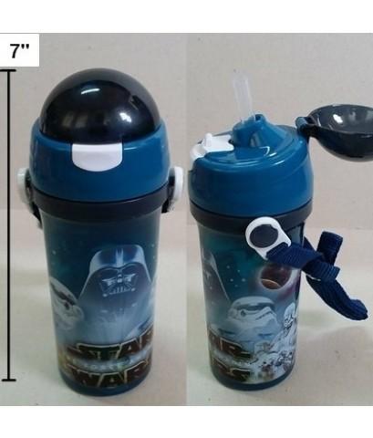 กระติกน้ำ BPA Free ลาย สตาร์วอร์ (Starwars) มีหลอดในตัว ถอดสายได้ ขนาดสูง 7 นิ้ว