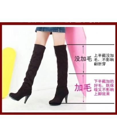 รองเท้าบูท แฟชั่นเกาหลี บูธยาวส้นสูง หนังนิ่มไซส์ 39 สีดำ (ความยาวเท้า 24.5 cm)
