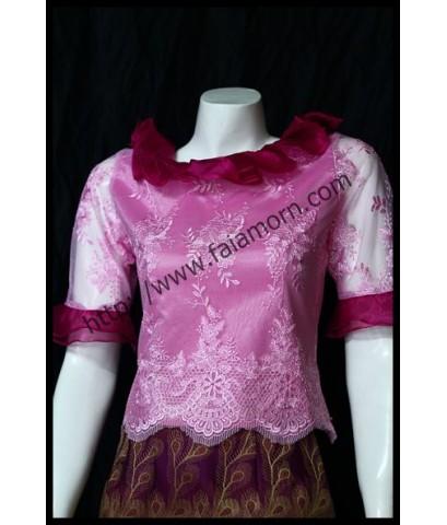 ชุดผ้าไหมหางนกยุงสีชมพู