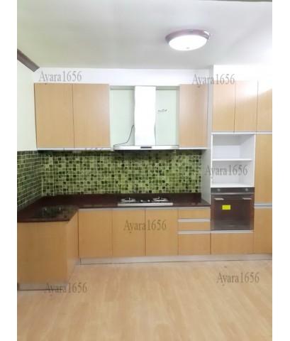 ชุดครัว Built-in ตู้ล่าง โครงซีเมนต์บอร์ด หน้าบาน Melamine + PVC สี Breeze