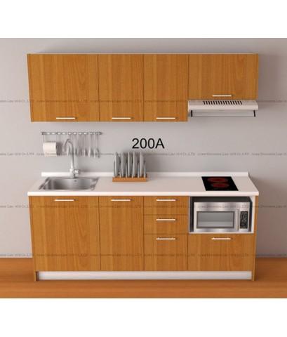 ชุดครัว Budget Kit ตู้ล่างใต้ Sink โครงซีเมนต์บอร์ด หน้าบาน Melamine - 200A ขนาด 2.00 เมตร