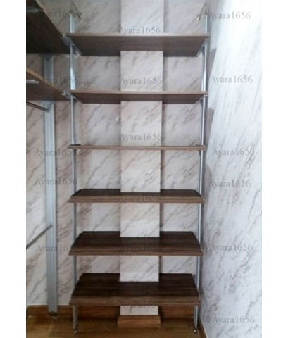Walk In Closet - L Shape หน้าบานเมลามีน สี Loft Golden Oak