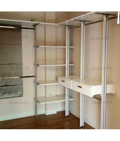 Walk In Closet - L Shape หน้าบานเมลามีน สีขาวด้าน