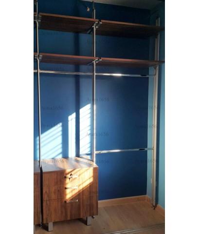 Walk in Closet - L Shape หน้าบานเมลามีน สี Tundra Forest/Loft Golden Oak