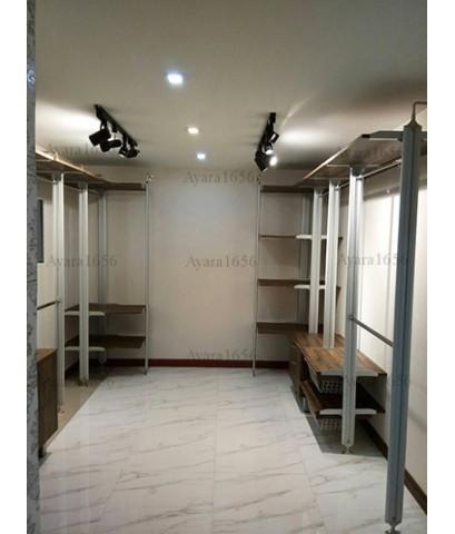 Walk in Closet - L Shape Melamine สี Loft Golden Oak