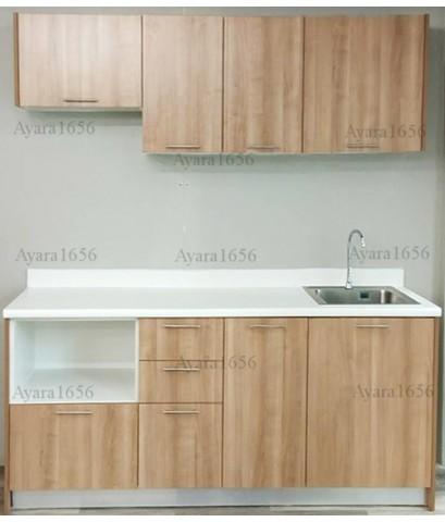 ชุดครัว Budget Kit ตู้ล่างใต้ Sink โครงซีเมนต์บอร์ด หน้าบาน Melamine สีคาปูชิโน่ - 200A ขนาด 2.00 ม.