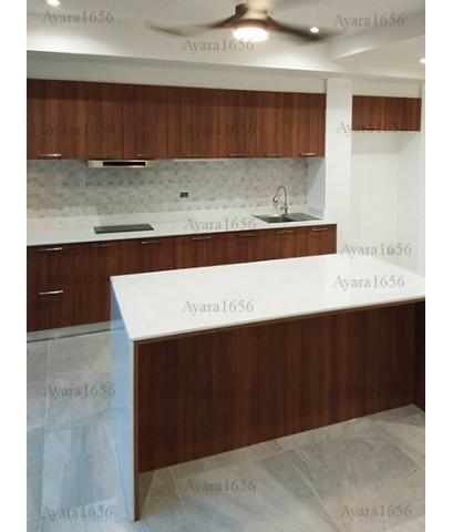 ชุดครัว Built-in ตู้ล่าง + Island โครงซีเมนต์บอร์ด หน้าบาน Laminate สี Natural Teak