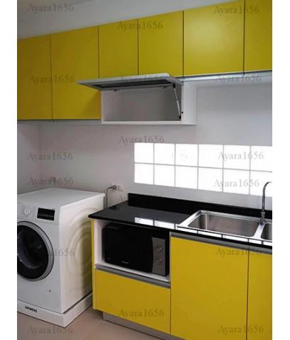 ชุดครัว Built-in ตู้ล่าง โครงซีเมนต์บอร์ด หน้าบาน Laminate สี Sensation - ม.ศุภาลัยวิลล์