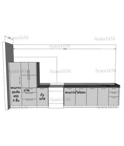 ชุดครัว Built-in ตู้ล่าง + ตู้สูง โครงซีเมนต์บอร์ด หน้าบาน Hi Gloss สีเทา-ม.The Centro