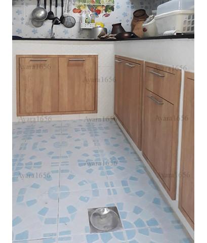 ชุดครัว Built-in ตู้ล่าง + วงกบ โครงซีเมนต์บอร์ด หน้าบาน Laminate สี Sand Oak-ม.พฤกษาวิลล์