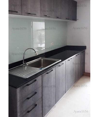 ชุดครัว Built-in ตู้ล่าง โครงซีเมนต์บอร์ด หน้าบาน Laminate สี Shadow Oak