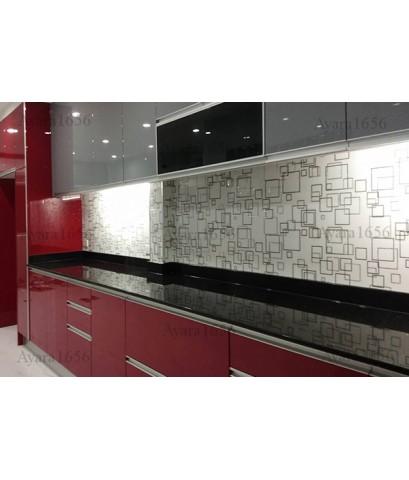 ชุดครัว Built-in ตู้ล่าง + ตู้สูงด้านล่าง โครงซีเมนต์บอร์ด หน้าบาน Hi Gloss สีแดง+เทา