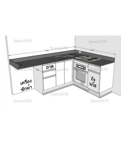 ชุดครัว Built-in ตู้ล่าง โครงซีเมนต์บอร์ด หน้าบาน Laminate สีขาวด้าน