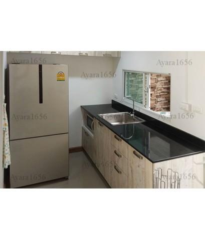 ชุดครัว Budget Kit ตู้ล่างใต้ Sink โครงซีเมนต์บอร์ด หน้าบาน Melamine สี Tundra Forest - 200A ขนาด 2.