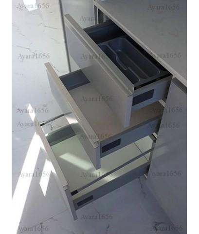 ชุดครัว Built-in ตู้ล่าง + ตู้สูง โครงซีเมนต์บอร์ด หน้าบาน Melamine สีเทา