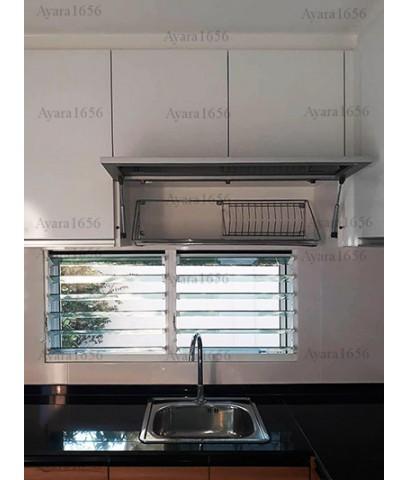 ชุดครัว Built-in ตู้ล่าง โครงซีเมนต์บอร์ด หน้าบาน Laminate สี Classic Walnut-ม.มัณฑนา
