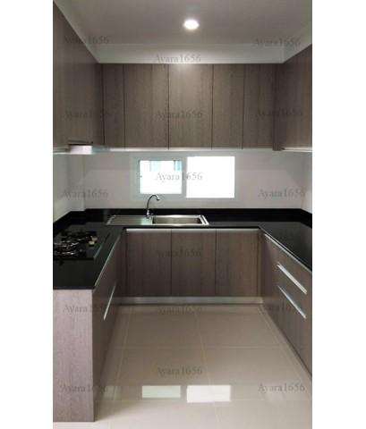 ชุดครัว Built-in ตู้ล่าง โครงซีเมนต์บอร์ด หน้าบาน Melamine สี Texural Siamea