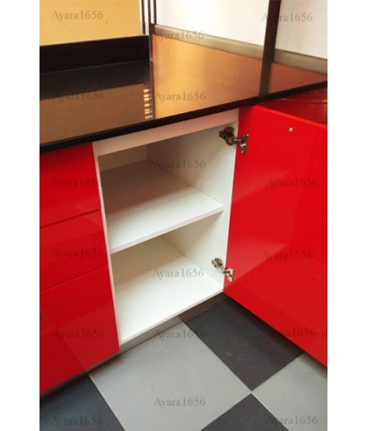 ชุดครัว Built-in ตู้ล่าง โครงซีเมนต์บอร์ด หน้าบาน Hi Gloss สีแดง