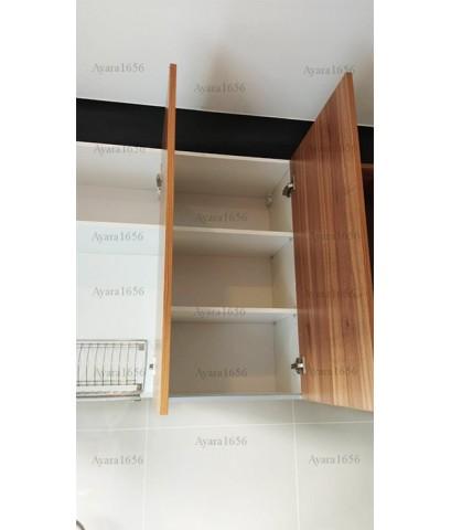 ชุดครัว Built-in ตู้ล่าง โครงซีเมนต์บอร์ด หน้าบาน Melamine สี Black + Lyon ลายไม้