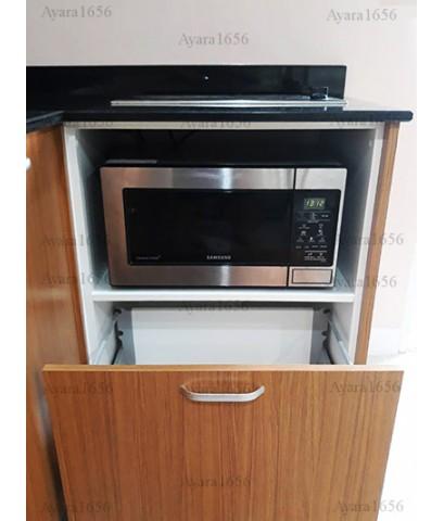 ชุดครัว Built-in ตู้ล่าง โครงซีเมนต์บอร์ด หน้าบาน Melamine สี Teak