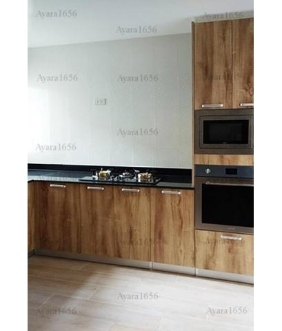 ชุดครัว Built-in ตู้ล่าง + ตู้สูงด้านล่าง โครงซีเมนต์บอร์ด หน้าบาน Melamine สี Pine