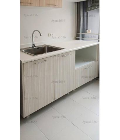 ชุดครัว Budget Kit ตู้ล่างใต้ Sink โครงซีเมนต์บอร์ด หน้าบาน Melamine สี Bamboo Striped - 140A