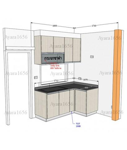 ชุดครัว Built-in ตู้ล่าง โครงซีเมนต์บอร์ด หน้าบาน Melamine สี White Pine-ม.บ้านกลางเมือง