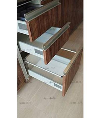 ชุดครัว Built-in ตู้ล่าง โครงซีเมนต์บอร์ด หน้าบาน Melamine สี Loft Golden Oak ลายไม้
