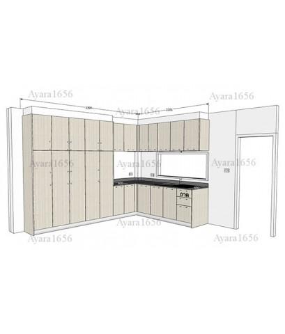 ชุดครัว Built-in ตู้ล่าง + ตู้สูงด้านล่าง โครงซีเมนต์บอร์ด หน้าบาน Melamine สี White Pine