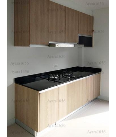 ชุดครัว Built-in ตู้ล่าง โครงซีเมนต์บอร์ด หน้าบาน Melamine สี Nordic Maple - ม.ศุภาลัย พาร์ควิลล์