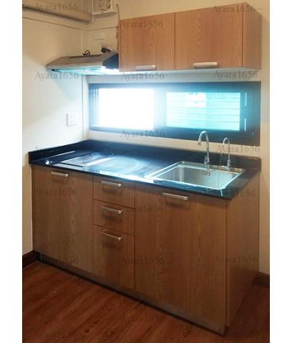 ชุดครัว Built-in ตู้ล่าง โครงซีเมนต์บอร์ด หน้าบาน Melamine สี Smoothy Ash ลายไม้
