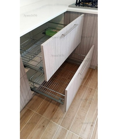 ชุดครัว Built-in ตู้ล่าง โครงซีเมนต์บอร์ด หน้าบาน Melamine สี Teak ลายไม้