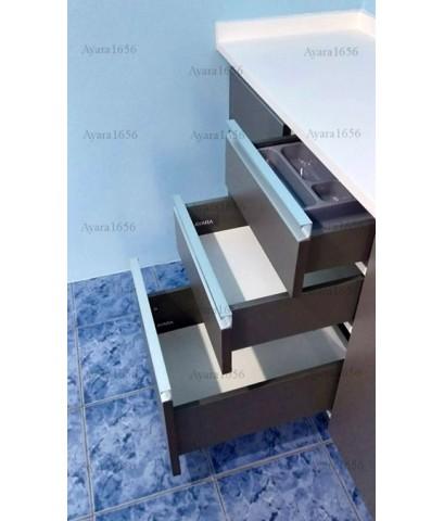 ชุดครัว Built-in ตู้ล่าง โครงซีเมนต์บอร์ด หน้าบาน Laminate สีเทาด้าน