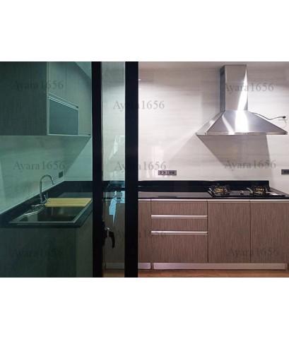 ชุดครัว Built-in ตู้ล่าง โครงซีเมนต์บอร์ด หน้าบาน Laminate สี Sarume Strand - ม.บ้านกลางเมือง